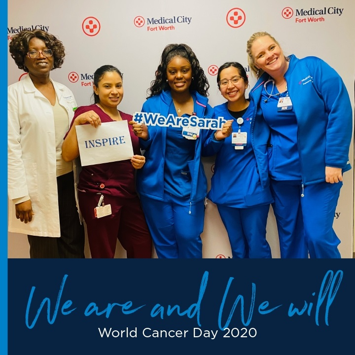 Medical City Ft. Worth colleagues celebrating World Cancer Day