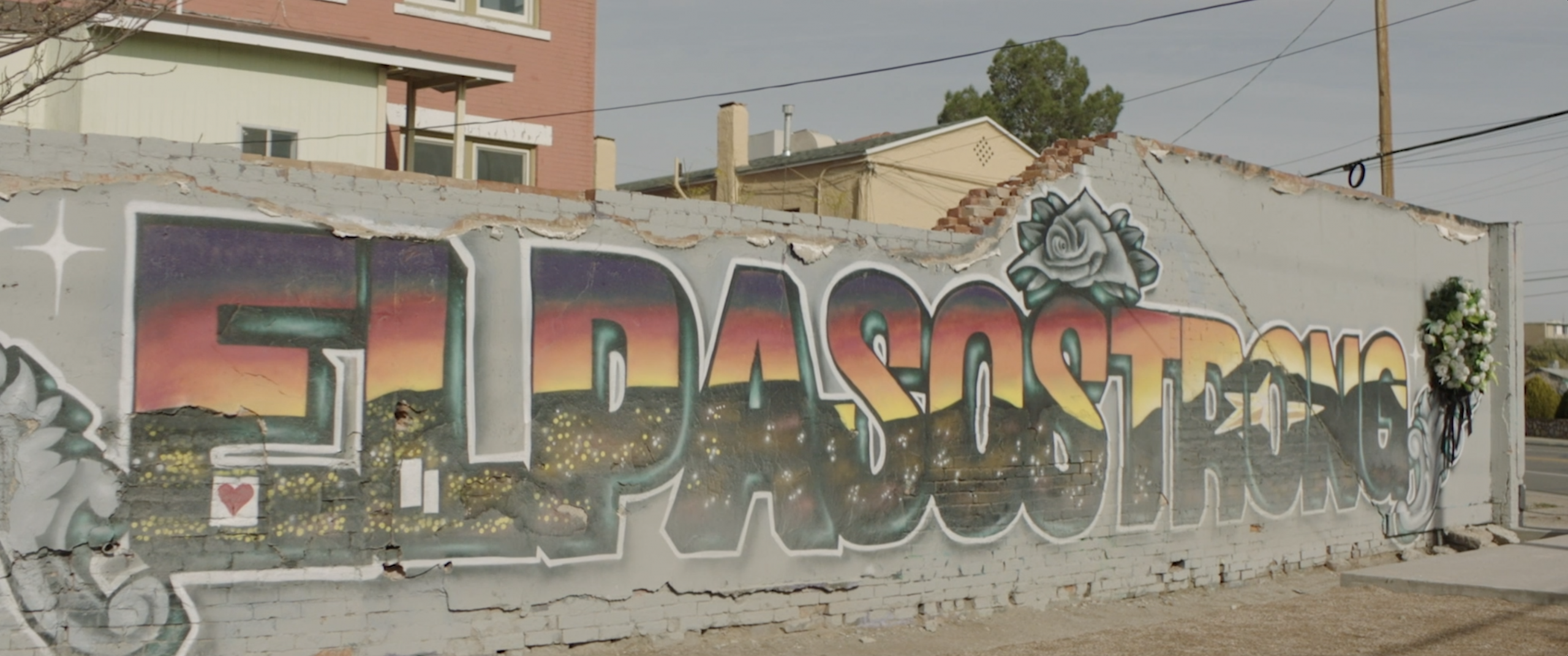 """graffiti that spells out """"El Paso strong"""""""
