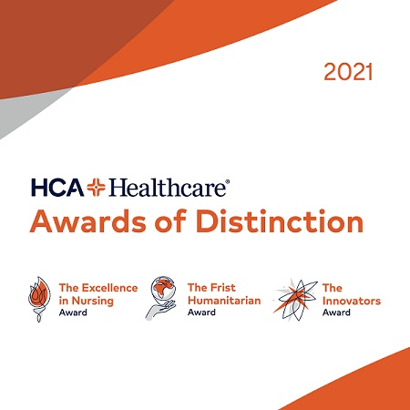 Graphic that says HCA Healthcare Awards of Distinction, The Excellence in Nursing Award, The Frist Humanitarian Award and The Innovators Award